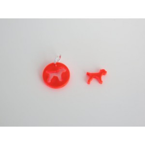 Dog Collar Accessories - Red Acrylic Border Terrier Tag