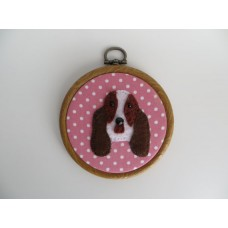 Basset Hound Felt Motif Mini Embroidery Hoop Wall Decoration