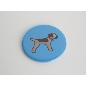 Metal Border Terrier Compact Pocket Mirror - Blue