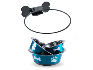 Wall Mounted Dog Bowl -  Blue | BIG PAWS.CO
