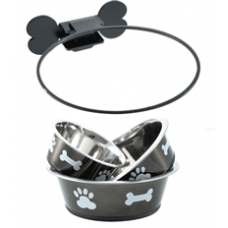 Wall Mounted Dog Bowl -  Graphite | BIG PAWS.CO
