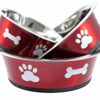 Red bowl with contrasting paw and bone design