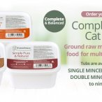 complete and balanced cat food in 450g tubs