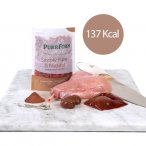Raw food Pouch on chopping board with rabbit a