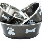 Graphite  bowl with contrasting paw and bone design