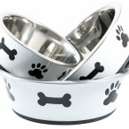 White bowl with contrasting paw and bone design